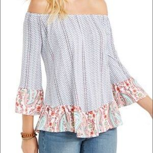 STYLE & CO. Printed off-the-shoulder top